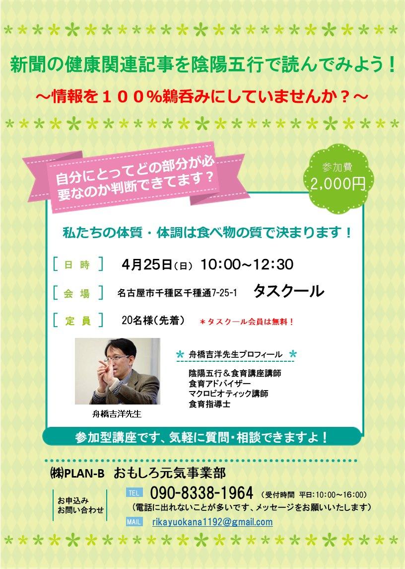 4/25 新聞の健康関連記事を陰陽五行で読んでみよう!